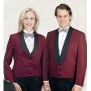 Women's Burgundy Eton Jacket With Satin Shawl Lapel