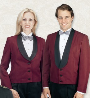 Women's Burgundy Eton Jacket With Satin Shawl Lapel