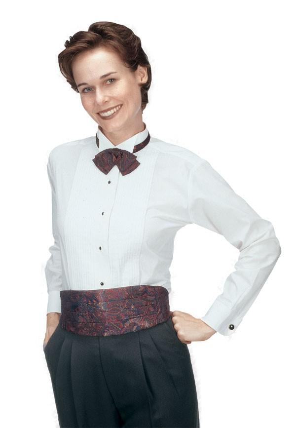 "Henry Segal 8601 Women's Long Sleeve Wing-Tip Collar Pin Tuck 1/8"" Pleat"