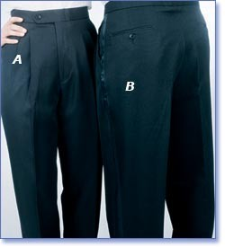 Women's Pleated-Front Black Tuxedo Pants