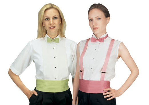 """Henry Segal 8211 Women's Short Sleeve Wing-Tip Collar Tuxedo White Shirt 1/4"""" Pleat"""
