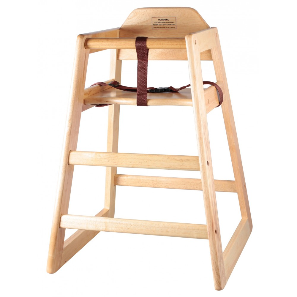 Wooden Assembled Hi-Chair, Natural Color
