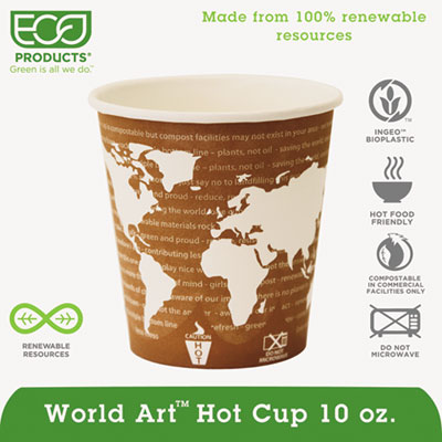 World Art Renewable & Compostable Hot Cups Convenience Pack - 10 oz., 50/PK