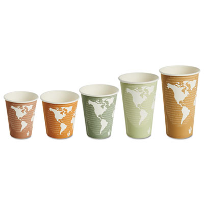 World Art Renewable/Compostable Hot Cups, 8 oz, Plum, 50/Pack