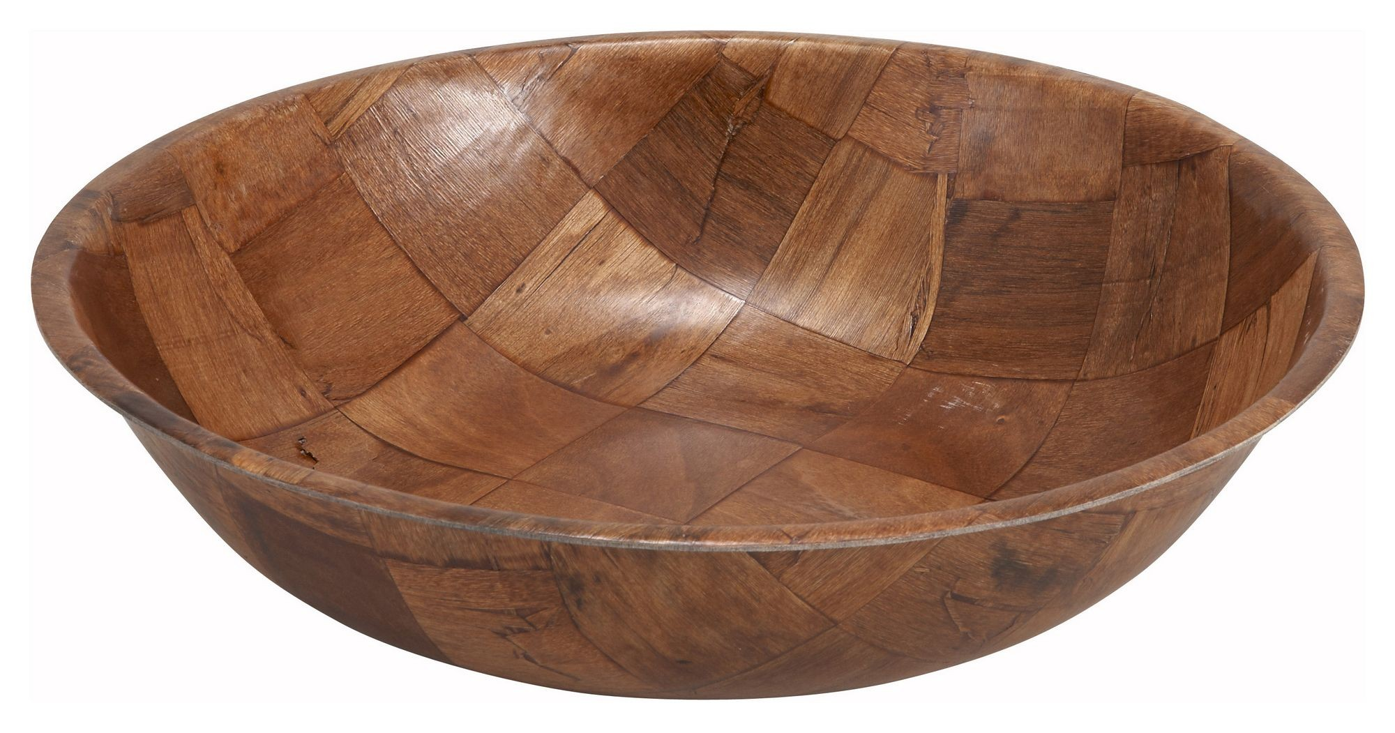 Winco WWB-16 Round Woven Wood Salad Bowl 16""