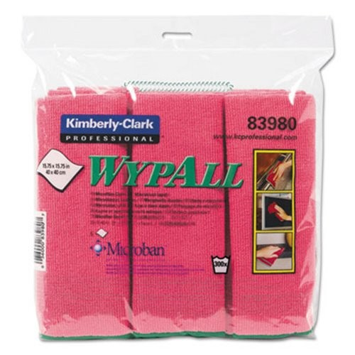 Wypall Microfiber Reusable Cloths, Red, 24/Carton