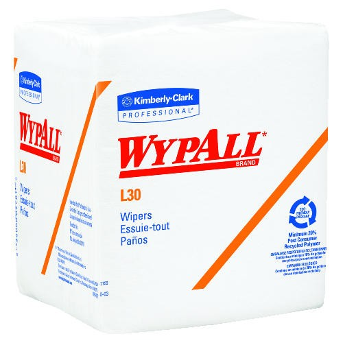 Wypall Quarter Fold Wipes, 12.5 X 13, White