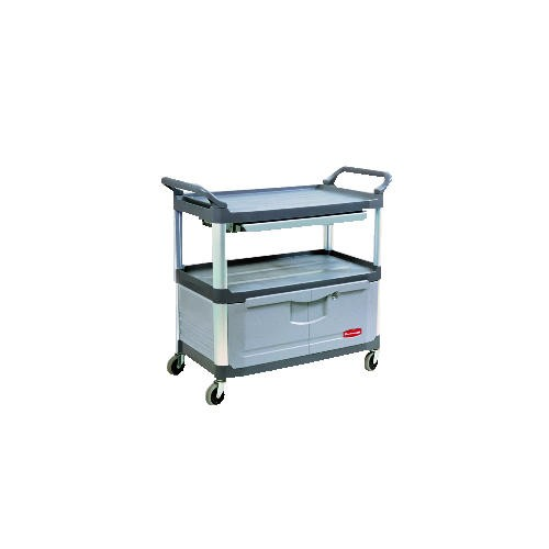 Xtra 3-Shelf Instrument Cart Lockable Doors, Gray