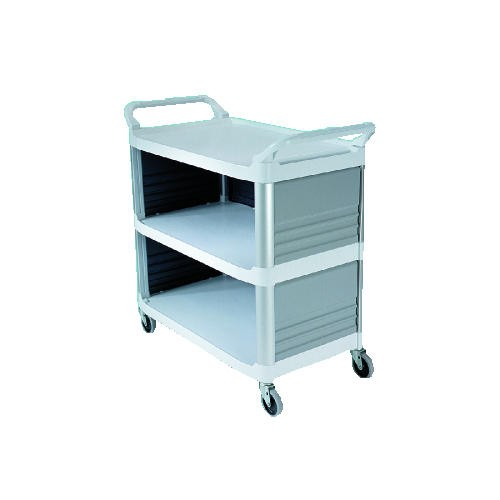 Xtra 3-Shelf Utility Cart, Enclosed On 3 Sides, Cr�me