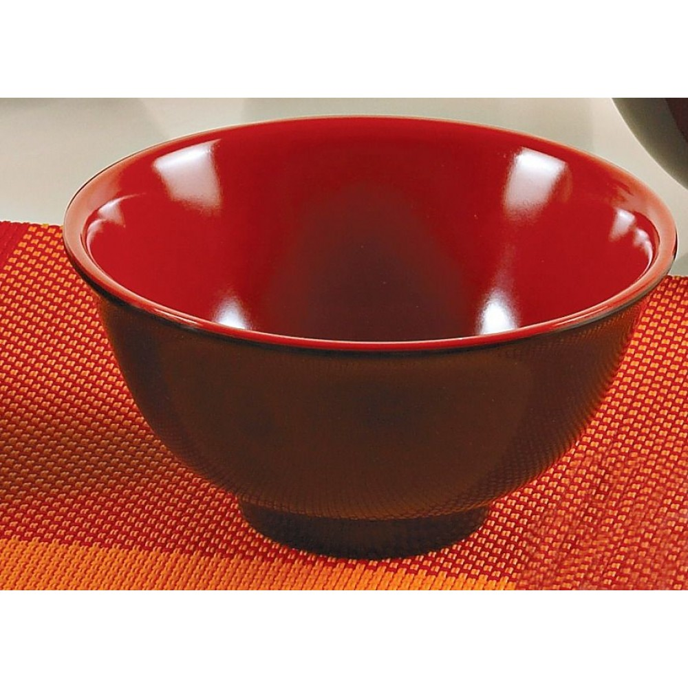 "Yanco CR-130 Black Red Two Tone 4 1/2"" Rice Bowl"