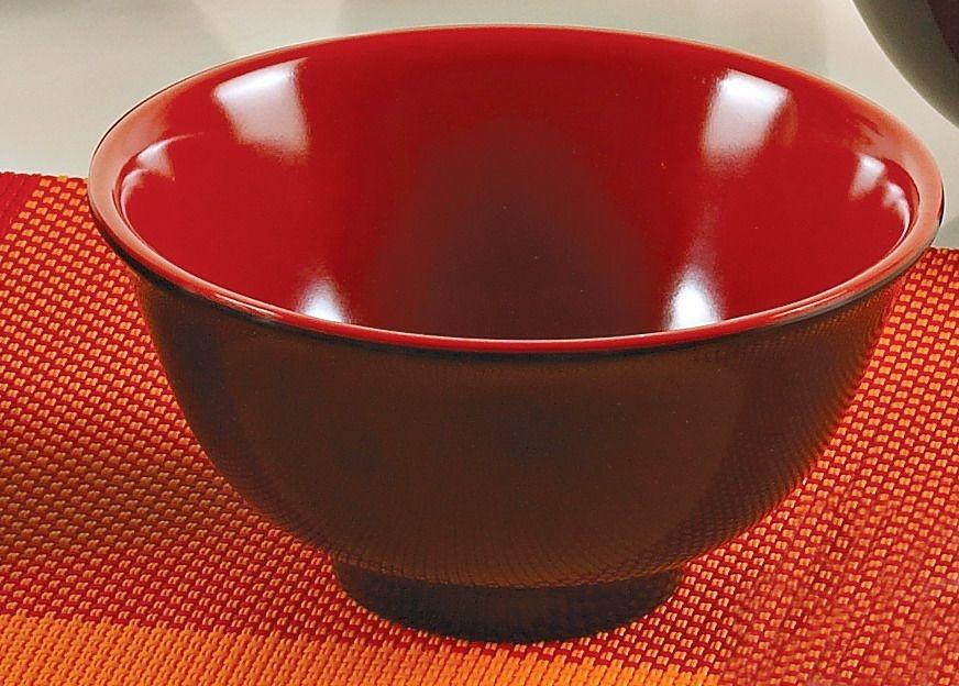"Yanco CR-130 Black Red Two Tone 4 1/2"" Rice Bowl"