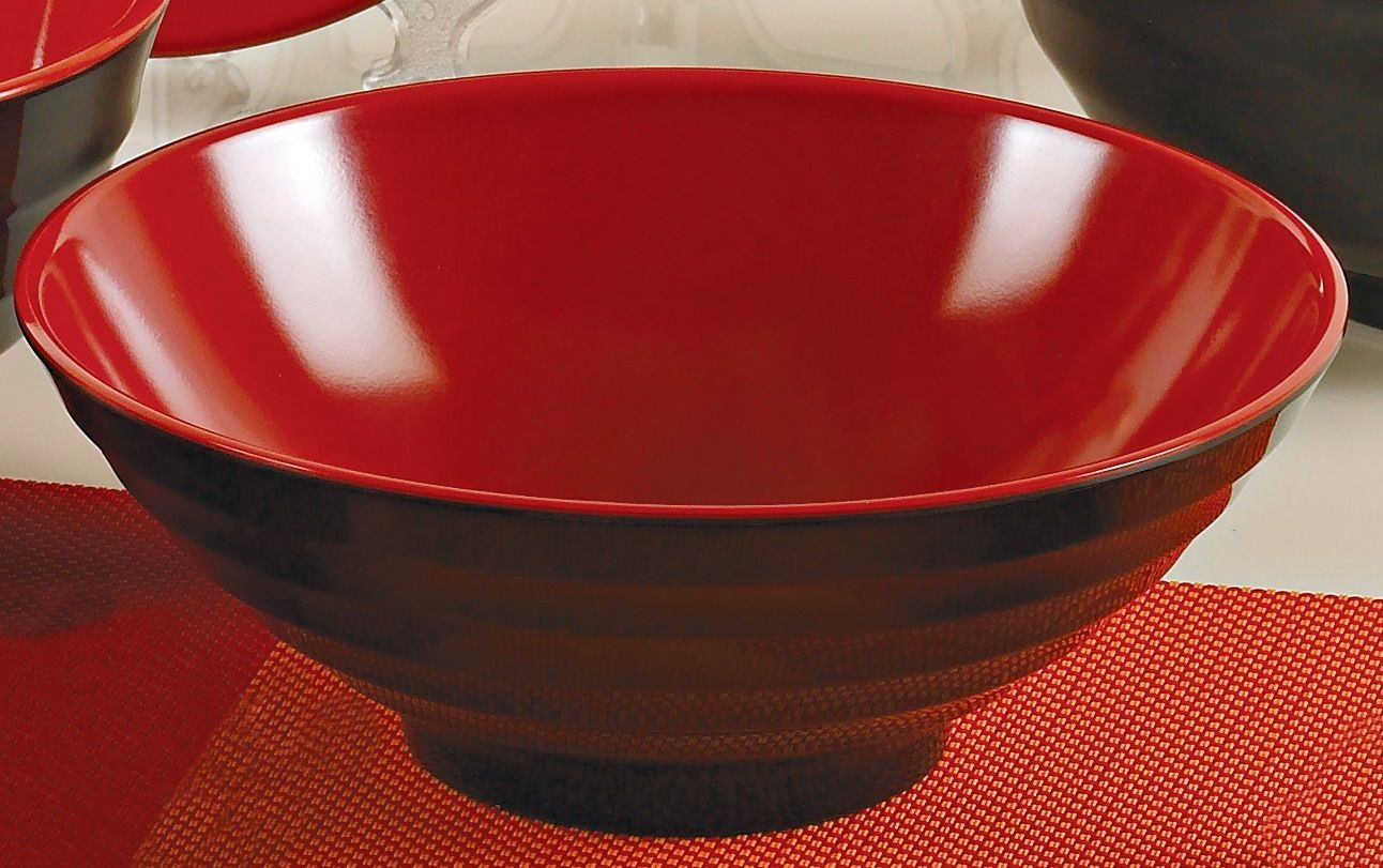 "Yanco CR-566 Black Red Two Tone 7"" Noodle Bowl"