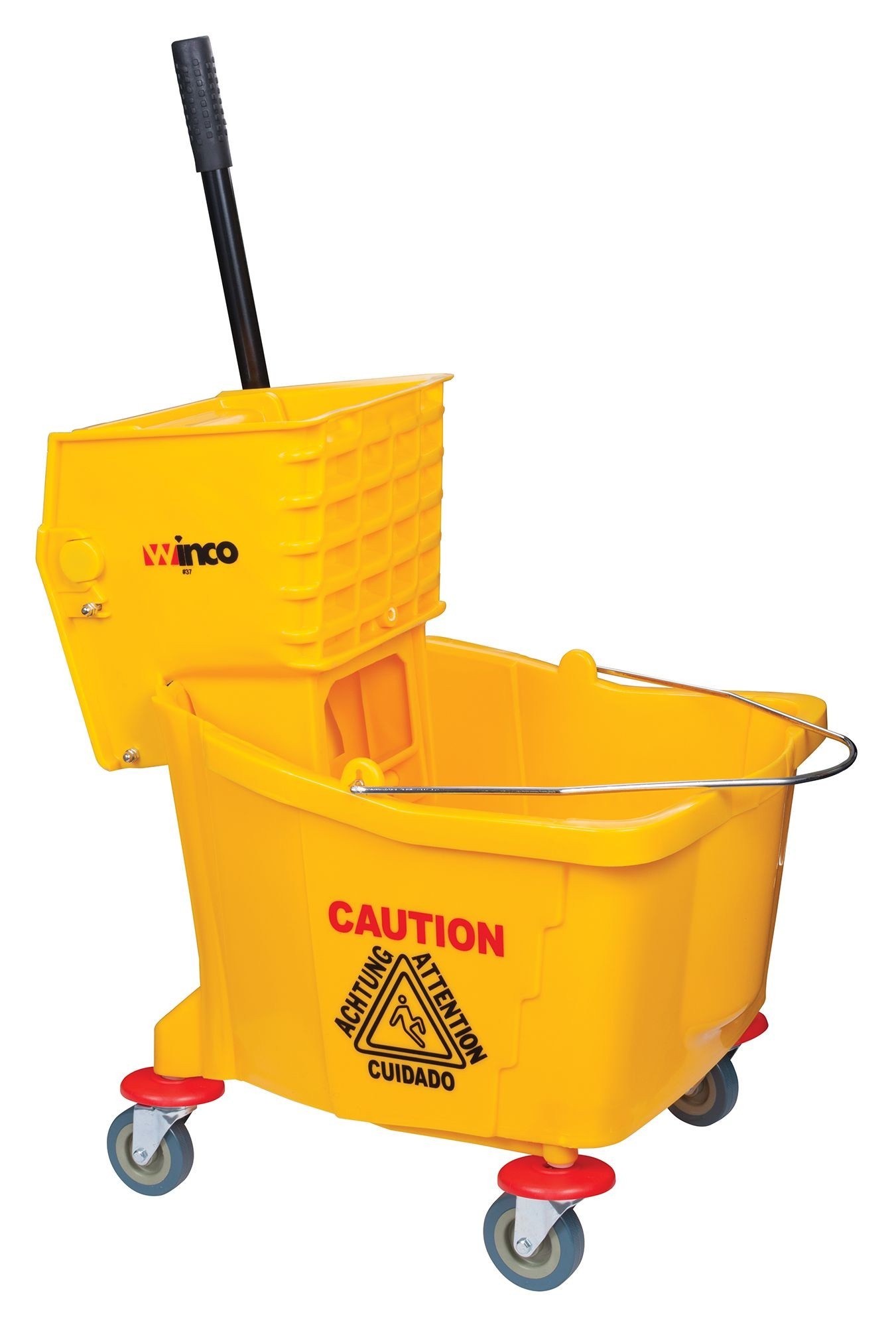 Yellow 36 Quart Mop Bucket With Wringer and Wheels