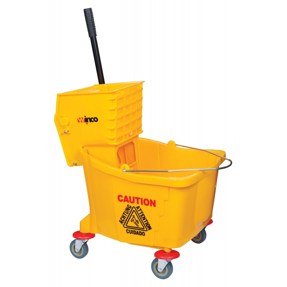 Winco MPB-36 Yellow 36 Qt. Mop Bucket with Wringer and Wheels