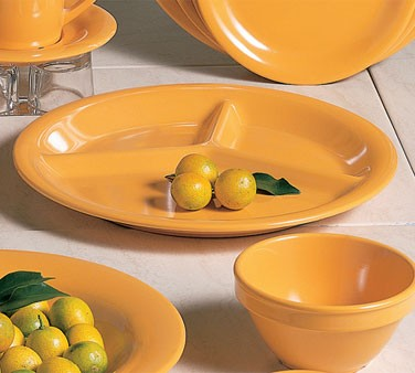 Thunder Group CR710YW Yellow Melamine 3-Compartment Plate 10-1/4""