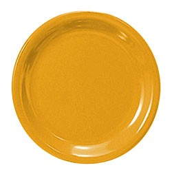 Thunder Group CR110YW Yellow Melamine Narrow Rim Round Plate 10-1/2""