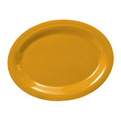 "Thunder Group CR212YW Yellow Melamine Oval Platter, 12"" x 9"""