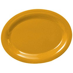 "Thunder Group CR213YW Yellow Melamine Oval Platter, 13-1/2"" x 10-1/2"""