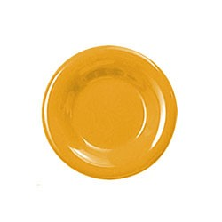 Thunder Group CR006YW Yellow Melamine Wide Rim Round Plate 6-1/2""