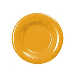 "Thunder Group CR007YW Yellow Melamine Wide Rim Round Plate 7-1/2"""