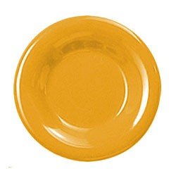 Thunder Group CR010YW Yellow Melamine Wide Rim Round Plate 10-1/2""