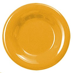 Thunder Group CR012YW Yellow Melamine Wide Rim Round Plate 12""