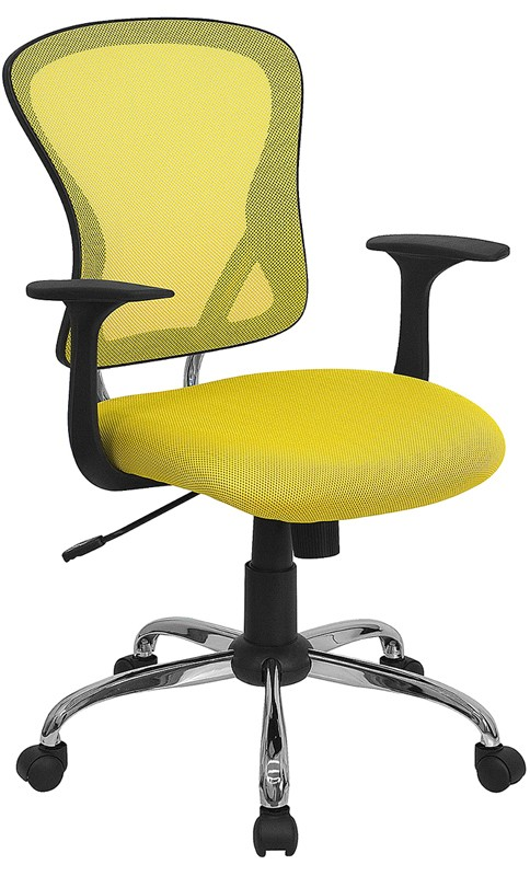 Flash Furniture H-8369F-YEL-GG Mid-Back Yellow Mesh Executive Office Chair with Chrome Base and Arms