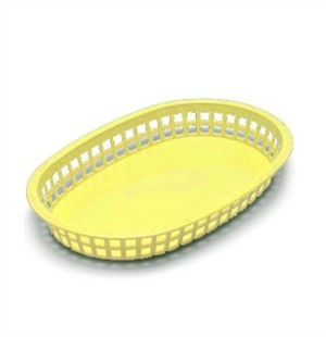 "TableCraft 1076Y Yellow Plastic Oval Chicago Platter Basket 10-1/2"" x 7"" x 1-1/2"""