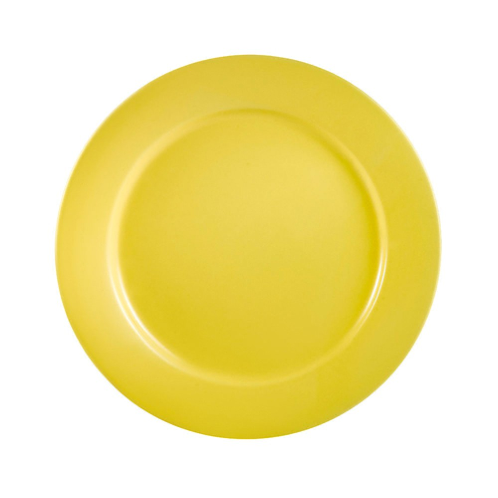 CAC China LV-21-Y Las Vegas Rolled Edge Yellow Plate 12""
