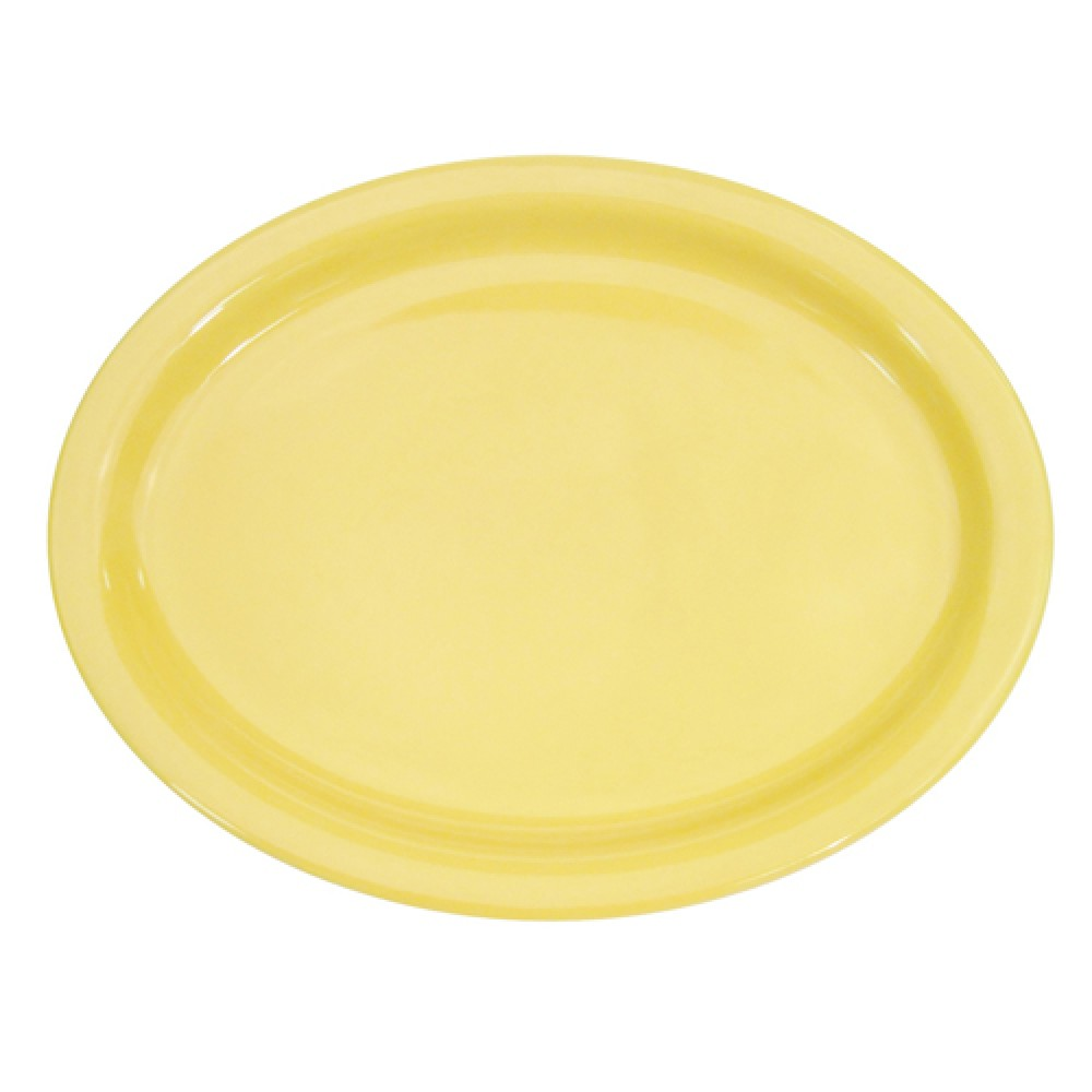 CAC China L-14NR-Y Las Vegas Narrow Rim Yellow Platter, 13 1/4""