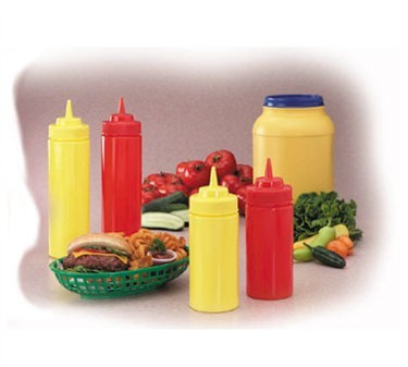 Yellow Polyethylene 16 Oz. Wide-Mouth Mustard Squeeze Bottle