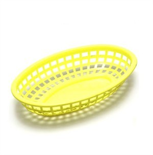 "TableCraft 1074Y Yellow Classic Plastic Oval Basket 9-3/8"" x 6"" x 1-7/8"""