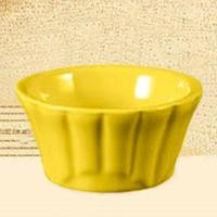CAC China RMK-F3 -Y Festiware Yellow Floral Ramekin 3 oz.