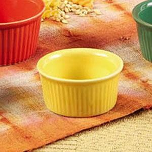CAC China RKF-6-YLW Yellow Fluted Ramekin 6 oz.
