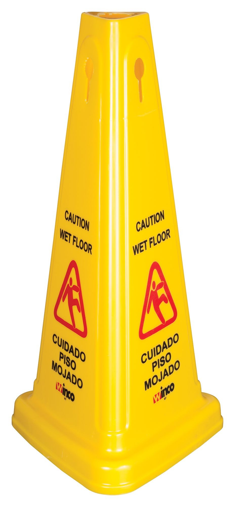 "Winco WCS-27T Tri-Cone Yellow Wet Floor Caution Sign 27""H"