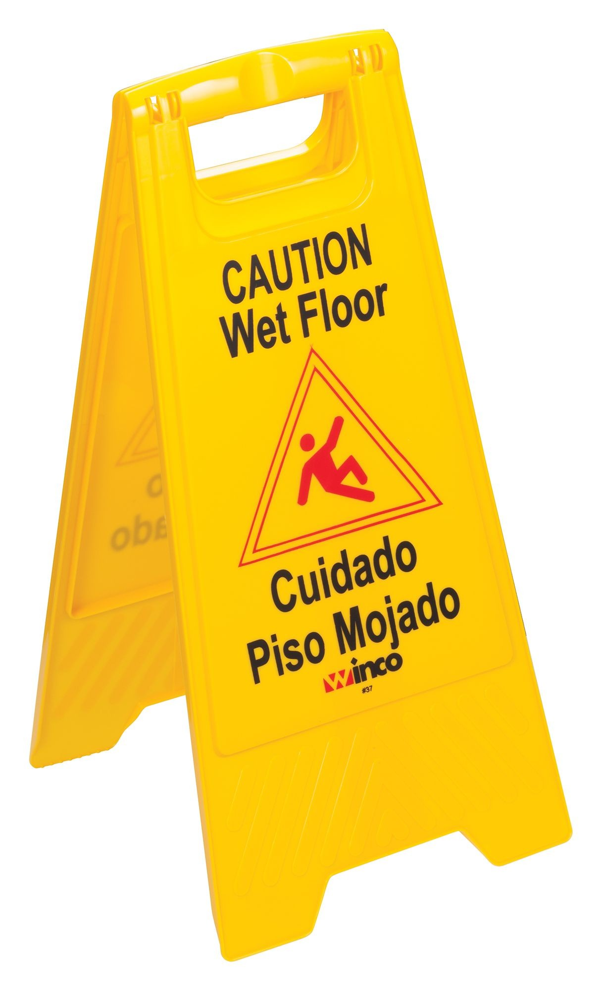 "Winco WCS-25 Two-Sided Yellow Wet Floor Caution Sign 12"" x 25"""