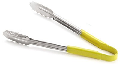 TableCraft 3774Y Yellow Vinyl-Coated Spring Steel Tong- 9-1/2""