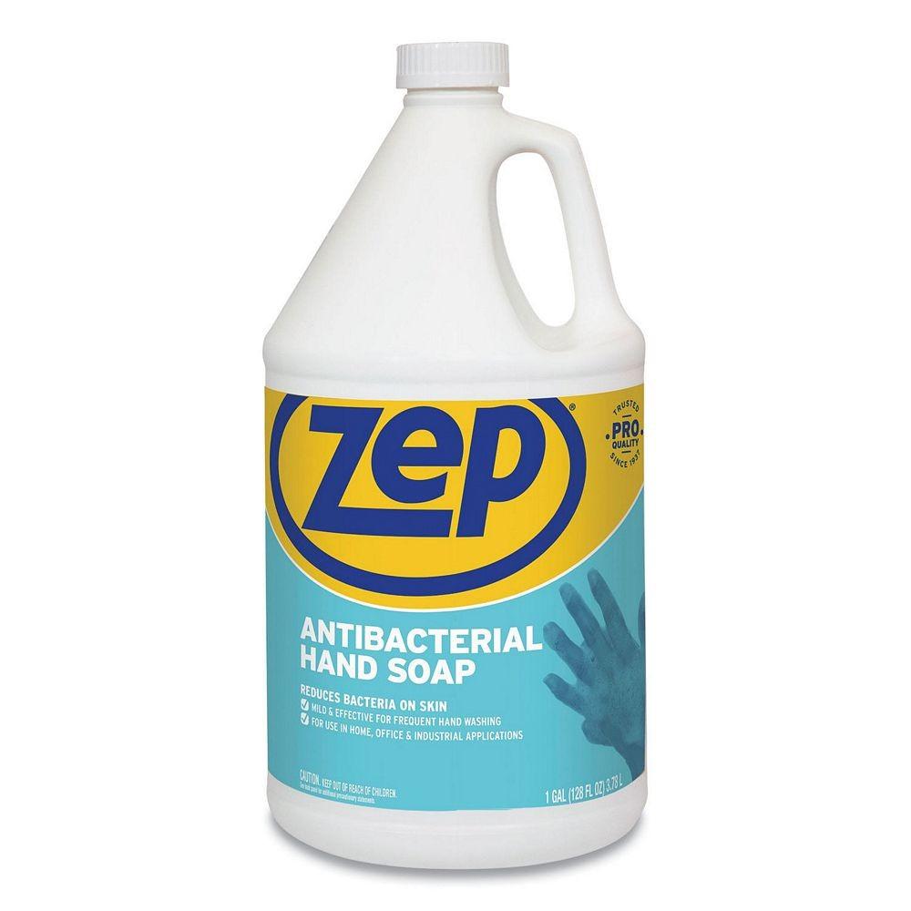 Zep Antibacterial Hand Soap, Fragrance-Free, 1 Gallon Bottle, 4/Carton