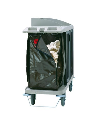 Zippered Vinyl Cleaning Cart Bag, 25 gal, 17w x 10 1/2d x 33h, Brown