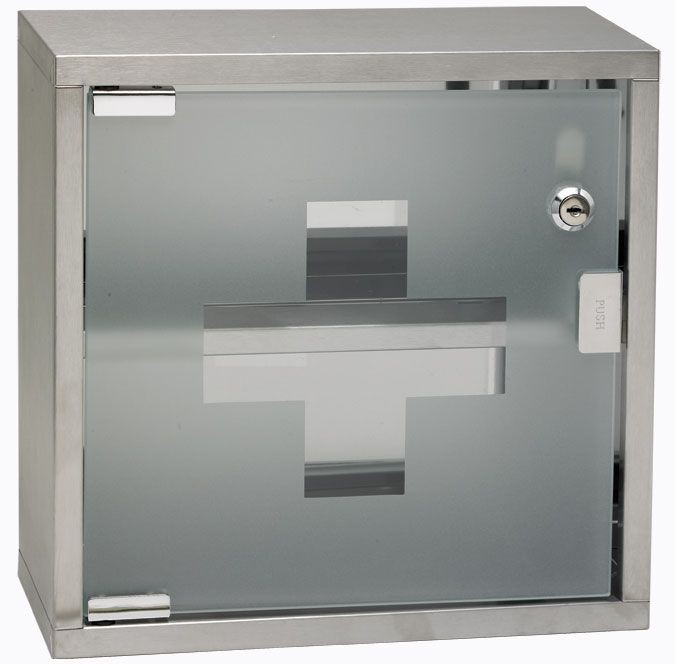 "Winco SFAC-12 Stainless Steel First Aid Cabinet, 12"" x 12""x 4-3/4"""